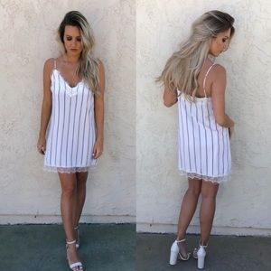 Honey Punch Stripe Dress with Lace Detail